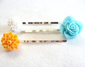 Rose and Dahlia Flower Bobby Pins- Set of 3- Turquoise, White and Tangerine- For Girls, Teenagers, and Women