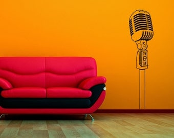Wall Decal - Old School Microphone  - Stickers By Creepy Goat Graphics