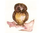 "Pink and Brown Baby Owl Note Cards from Watercolor Painting, ""Tiny Tia"""