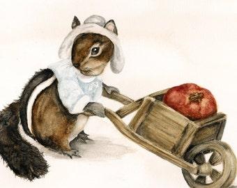 Woodland Animal Nursery Art, Print from Nature Painting, Whimsical Art, Kitchen Decor