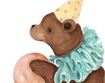 Woodland Animal Print, Nursery Art, Circus Bear, Blue Yellow Pink Brown