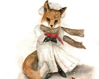 Red Fox Print, Cardinal Birds, Winter Woodland Art from Watercolor Painting