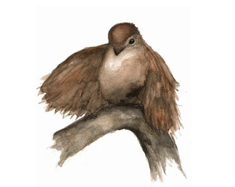 Bird Print from Woodland Nature Watercolor Painting, Brown Sparrow