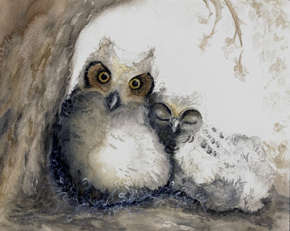 Nursery Art, Baby Owls Art Print, Neutral Grey and Beige, Brown Owl Art