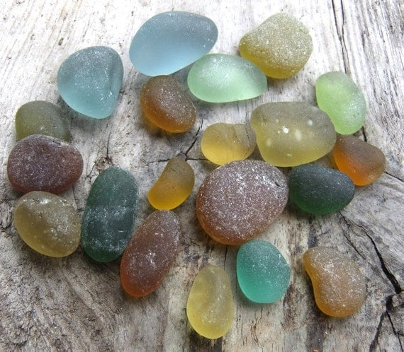 English sea glass, natural colors