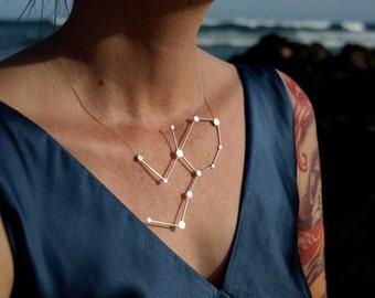 Virgo Zodiac Constellation Necklace Sterling Silver Handmade