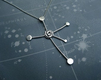 Southern Cross Constellation Necklace Spiral Motif Sterling Silver Ball Chain