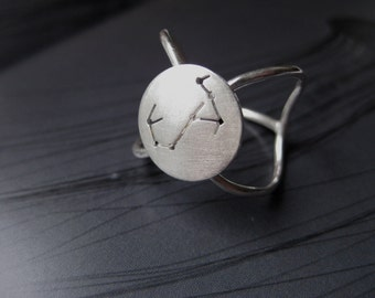 Scorpio Zodiac Constellation Sterling Silver Ring: Star Map Design
