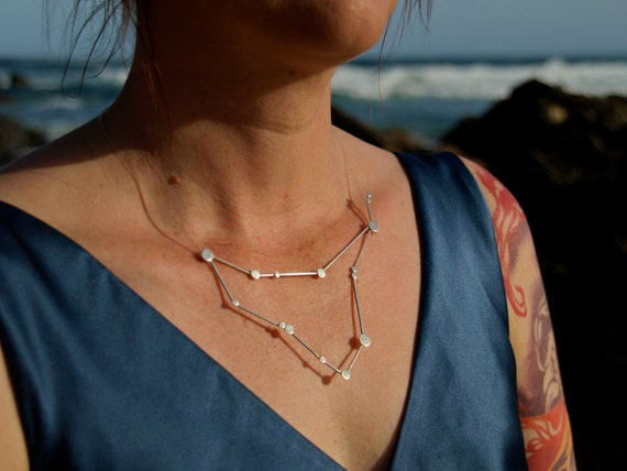 Capricorn Zodiac Constellation Sterling Silver Necklace on Rubber Cord