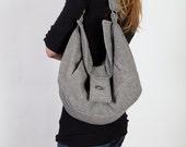Gray Wool Slouchy Hobo Bag/Purse