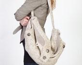 White Herringbone Wool Hobo Bag/Purse with Leather Detail