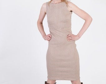 Pin Striped Pencil Dress Madmen 60s Style - S