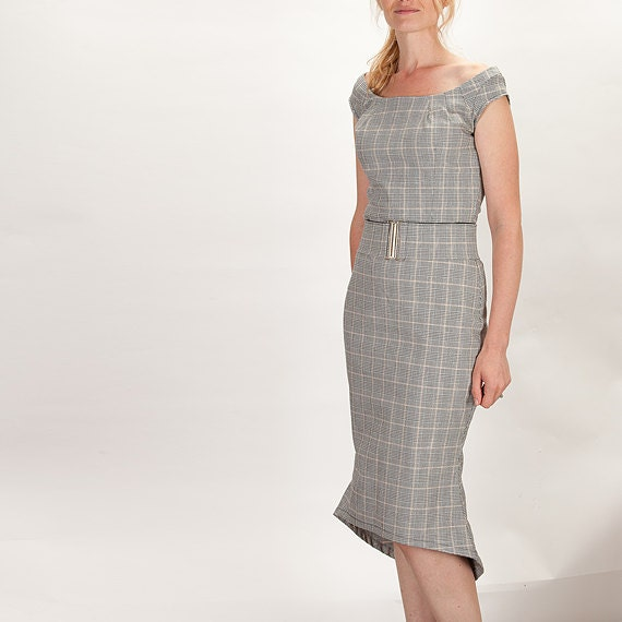 Grey Plaid 50s Fitted Office Madmen Style Dress with Belt