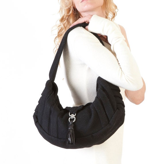 Black Wool Pleated Slouchy Hobo Purse / Hobo Bag with Leather Tassle