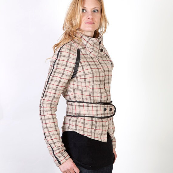 Womens Plaid Wool High Collar Motorcycle Jacket with Black Leather Details