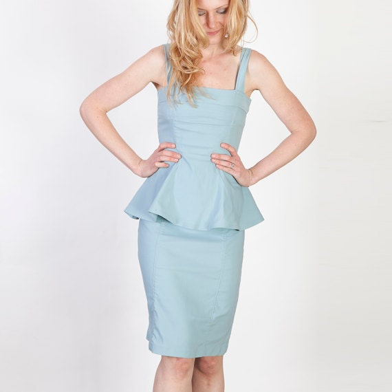 Light Blue Fitted Peplum Dress - Vintage Madmen Style