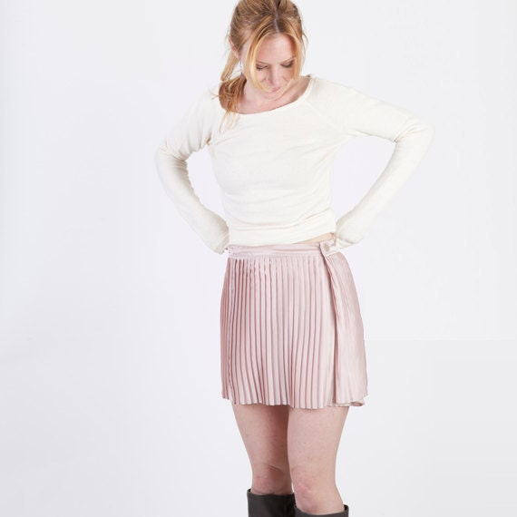 mini pleated light pink satin mod skirt adjustable
