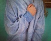 Vintage Unisex 1970's Super Comfy Light Blue Sweater with Diamond Pattern