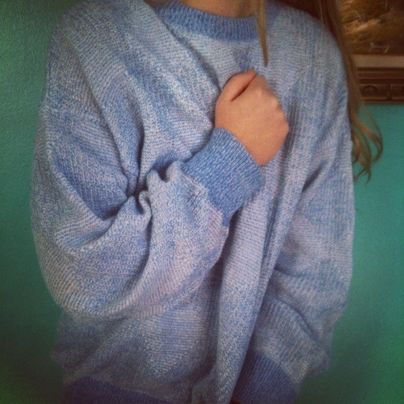 Vintage Unisex 1970's Super Comfy Light Blue Sweater with Diamond Pattern