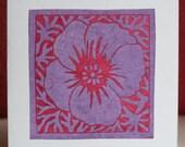 Purple flower lino-cut greetings card