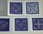 Set of 5 blank linocut greetings cards