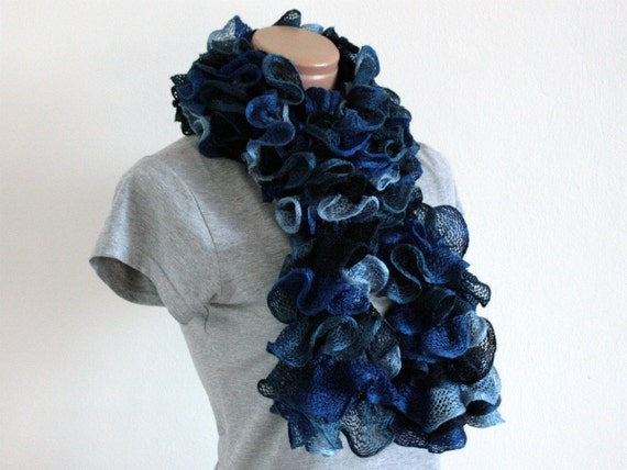 Hand Knitted Mixed Blue Frilly Ruffle Scarf RTS