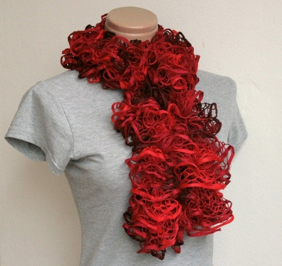 RESERVED: Frilly Ruffle Scarf Red Mix Hand Knitted RTS