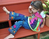 Girls Halloween Outfit -- Swing Top & Jeans -- Boutique Applique Set