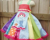 Girls Loopsy Inspired Twirl Dress and M2M Applique Apron --- Any Doll - Your Choice --- all sizes 12mos to 6/6x