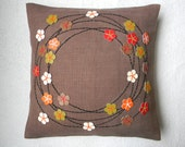 Autumn fall of flowers CUSHION COVER 18X18 inch Natural woven jute with upcycled leather/ cloth/ other material applique/beading.