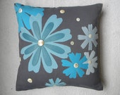 Spring of blue flowers-CUSHION COVER 18X18 inch Natural woven jute with upcycled leather/ cloth/ other material applique/beading.