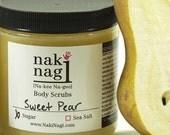 Exfoliating Sugar Body Scrub - SWEET PEAR - Sugar Bath Scrub, Vegan and Paraben Free, Handmade By Naki Nagi Body Scrubs