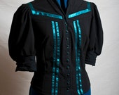 Black Shirt with Emerald Stripes - Victorian style