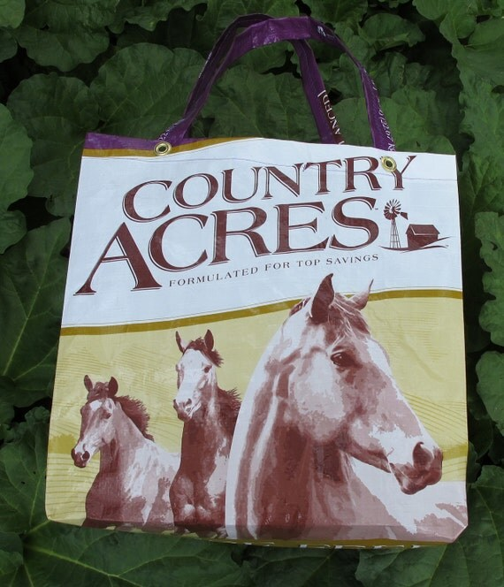 Upcycled  Purple Feed Bag Tote Horse Pony