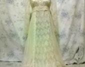 Vintage 1970s Gunne Sax Hippie Boho Prairie Empire Cut Wedding Dress XS Size 5/6