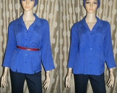 80s SLOUCHY Button Down Cobalt Blue Collared SILK Blouse, XL