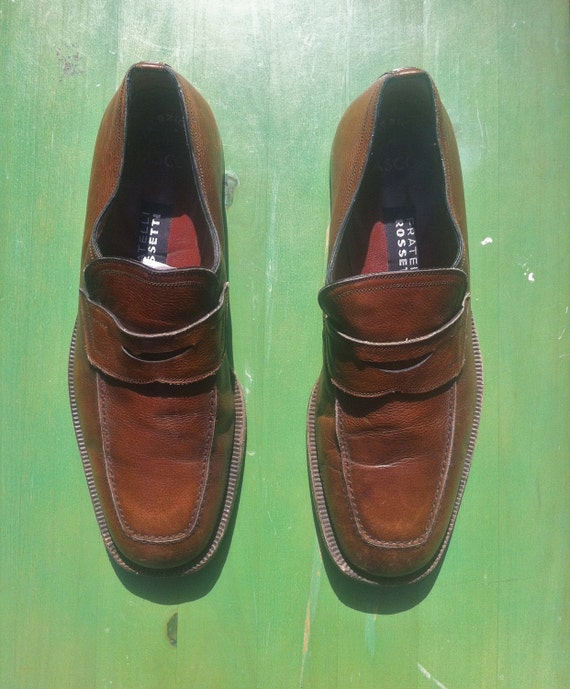 M 9 / 9.5 - 70s Square Toe Penny Loafers, Distressed Caramel Brown