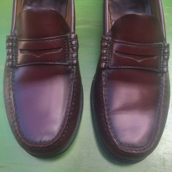 M 9.5 - 90s Burgundy Brown Grandpa Penny Loafers