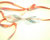 Silver and Iridescent Beaded Headband with Peach Ribbon