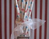 50 Retro Vintage Red & Blue Star Paper Straws