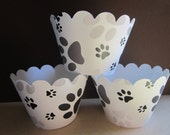 12 Paw Print Cupcake Wrappers