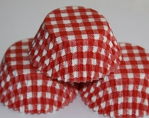 White and Red Gingham Cupcake Baking Liner Cup Standard or Mini