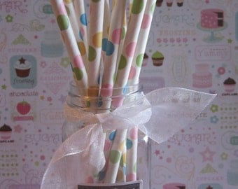 Multi Color ~ Paper Straw ~ Party Straw ~ Drinking Straw ~ Confetti Dot
