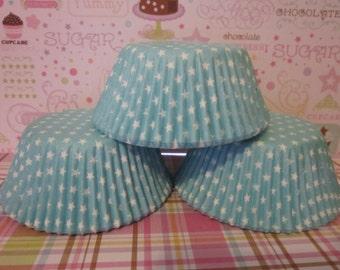 Light Blue White Star Standard Cupcake Baking Liners