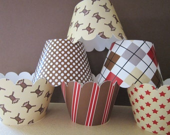 12 Brown & Red Sock Monkey Cupcake Wrappers