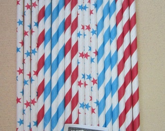 Star Blue Red Striped Retro Vintage Paper Drinking Straw