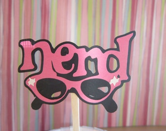 12 Hot Pink & Black Nerd Glasses Cupcake Toppers