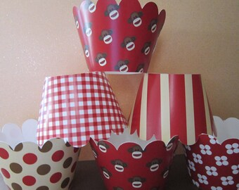 24 Mini Brown & Red Sock Monkey Inspired Cupcake Wrappers