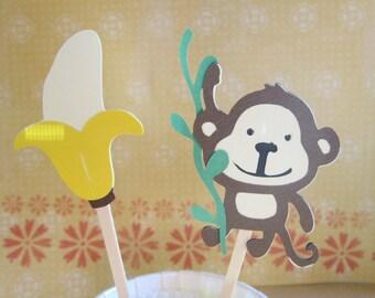 12 Monkey Banana Cupcake Toppers