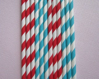 Peacock / Dark Aqua & Red Paper Straw ~ Circus ~ Carnival ~ Dr Seuss Party ~ Drinking Straw